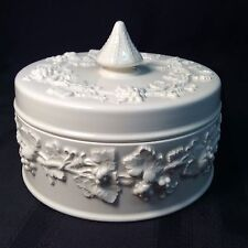 Wedgwood of Etruria & Barlaston embossed Queen's ware candy dish w/ lid   (N 2)