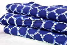 1 Yard Indigo Blue Ikat Print Cotton Fabric Hand Block Print Dabu Mud Fabric Art