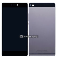 Black Huawei P8 GRA-L09 LCD Display Touch Screen Assembly Frame+Gray Back Cover