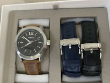 FOSSIL LEATHER INTERCHANGEABLE WATCH BOX SET WITH 2 EXTRA STRAPS BQ2337 RP £200
