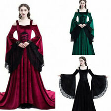 Women Medieval Victoria Retro Lace Dress Halloween PartyCosplay Costume BallGown