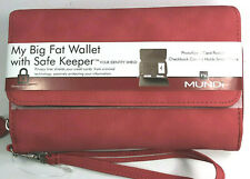 Mundi / My Big Fat Wallet / CORAL /Faux Grain Leather/ Safe Keeper NIB / Reg $40