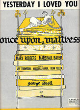 "Carol Burnett (Debut) ""ONCE UPON A MATTRESS"" Mary Rodgers 1959 Sheet Music"
