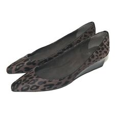 Stewart Weitzman Leopard Print Calf Skin Wedges Brown size 9 N Pointed Toe