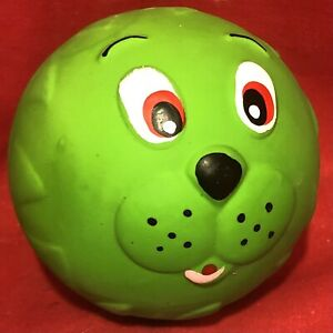 """Dog Toy 2.5"""" Ball Latex Funny Face Squeaky Soft Tougher Long Lasting Than Vinyl"""