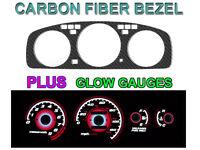 92-95 HONDA CIVIC MANUAL TACH CARBON FIBER BEZEL + RED GLOW GAUGE FACE OVERLAY