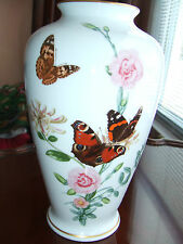 1981 Franklin Porcelain Country Garden Butterfly Vase