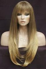 HUMAN HAIR Blend Long Straight Light Brown blonde mix Wig Heat safe WBTO T85