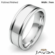 Flat Fit Plain Ring Men Wedding Solid Band 7mm 18k White Gold 12gm Size 11-11.75