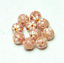 10 Indien Peint à la main fleur perles de verre pêche 12 mm round (BBB645)