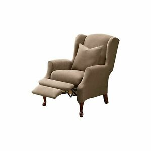SureFit Home Décor Stretch Pique Recliner Wingback Chair Slipcover, Polyester...