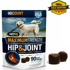 Vetiq Max Strength Hip & Joint Supplement For Dogs, Chicken Flavored Soft 90-CT