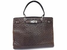 Off-Brand Unbranded Ostrich Exotic Leather Hand Bag Dark Brown Y594