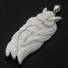 """3"""" HAND CARVED GODDESS OWL BISON BONE 925 STERLING SILVER pendant"""