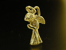 C053 Genuine 9ct SOLID Yellow Gold Detailed Christmas Angel Charm 3D + jumpring