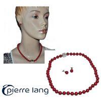 PIERRE LANG Collier boucles d'oreilles plaqué argent rhodié perle rouge cuivré