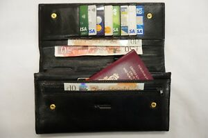 Luxury Leather Travel Wallet Document ORGANISER for Passport etc.Top Brand Black