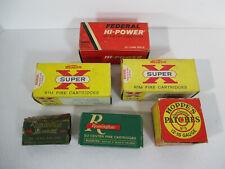 Bullet Boxes Empty Rifle Cartridges Vtg Cardboard Western Hoppers Remington 6pcs