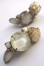 boucles d'oreilles clips bijou vintage couleur or pale effet pâte de verre 2416