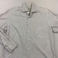 Ermenegildo Zegna Mens Dress Shirt White Black Striped 100% Cotton 16 1/2 - 42