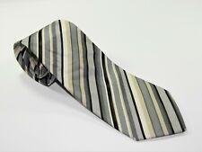 Men's ETRO MILANO Silk NECKTIE Tie POWER STRIPES MADE IN ITALY GRAY BLACK BEIGE
