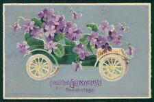 Art Nouveau Car Purple Violets Relief postcard TC3117