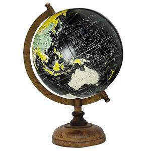 Globe World Map Antique Globe Beautiful Table Decor Home Office Black 12.5 inch