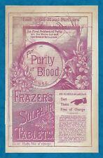 LATE 1800s FRAZER'S SULPHUR TABLETS & SULPHUR SOAP ADVERTISING INSERT
