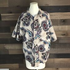 Vintage Frank Short Sleeve Aztec Button Up Shirt Made In Usa Mens Large