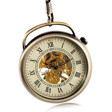 Reloj De Bolsillo la mano de la bobina Esqueleto Mecánico Especial Vintage Retro Steampunk