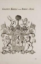 1847 Coat of Arms Wappen Grafen Korda von Boros-Jenö Kupferstich von Tyroff