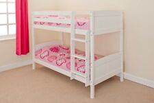 3ft Single Bunk Bed Wooden Frame in Pine White Can Split into 2 Singles