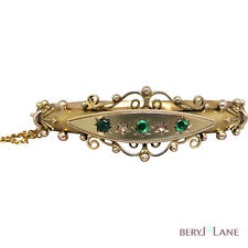 Reproduction Victorian-style EMERALD & DIAMOND BANGLE in 9K Gold