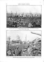 WWI Bataille Offensive d'Artois Ruines Cimetière d'Ablain Poilus A ILLUSTRATION