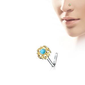 "Flower Filigree Turquoise Centre 316L Surgical Steel ""L"" Bend Nose Stud / Ring"