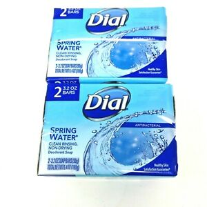 Dial Spring Water Clean Rinsing Non-Drying Deodorant Soap Lot of 4 Bars