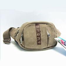 Men' Canvas 4 Zipper Waist Belt Bag Cell Phone Holder Fanny Pack
