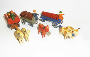 3 Old Erzgebirge Carriage Miniatures Um 1900 Zinnräder for Hobbyists