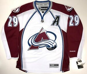 "NATHAN MACKINNON COLORADO AVALANCHE REEBOK PREMIER WHITE JERSEY WITH ""A"" NEW"