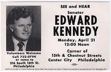 1980 EDWARD TED KENNEDY Philadelphia Rally Flyer PRESIDENT Senator MASSACHUSETTS