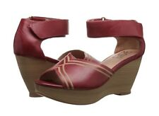 Miz Mooz Yasmina Wedge Sandals In Red Leather, Brand New In Box, 8/38.5