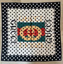 Gucci Scarf Vintage Logo Polka Dot Shawl Silk READ DESCRIPTION!