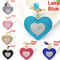 Heart Crystal Rhinestone Handbag Charm Pendant Keychain Bag Keyring Key Chain JT