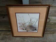 Vintage Framed Hedgehog Print By Danish Artist Mads Stage  25cm X 25cm