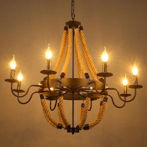 Vintage Candle Style Black Metal Hemp Rope Hanging Round Chandelier Pendant Lamp