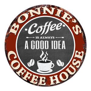 CPCH-0088 BONNIE'S COFFEE HOUSE Chic Tin Sign Decor Gift Ideas