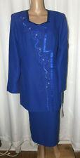 NINA MASSINI NM BEADED/GEM DESIGN SKIRT SUIT SIZE 12 BLUE NWT