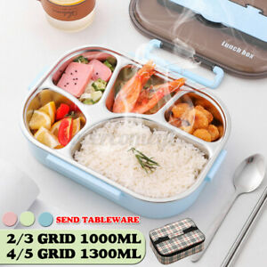 🔥 Stainless 2-5 Grid Thermal Insulated Lunch Box Bento Food Container Wo