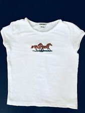 CHEROKEE GIRLS KIDS SIZE M 7/8 T-Shirt Top White Short Sleeve Horse Embroidered