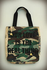 HARAJUKU LOVERS GWEN STEFANI Love Heart Doll Embroidered Camo Tote Bag